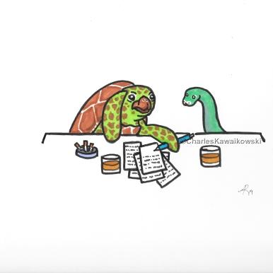 A Sea Turtle and a Snake Writing a Novel Together